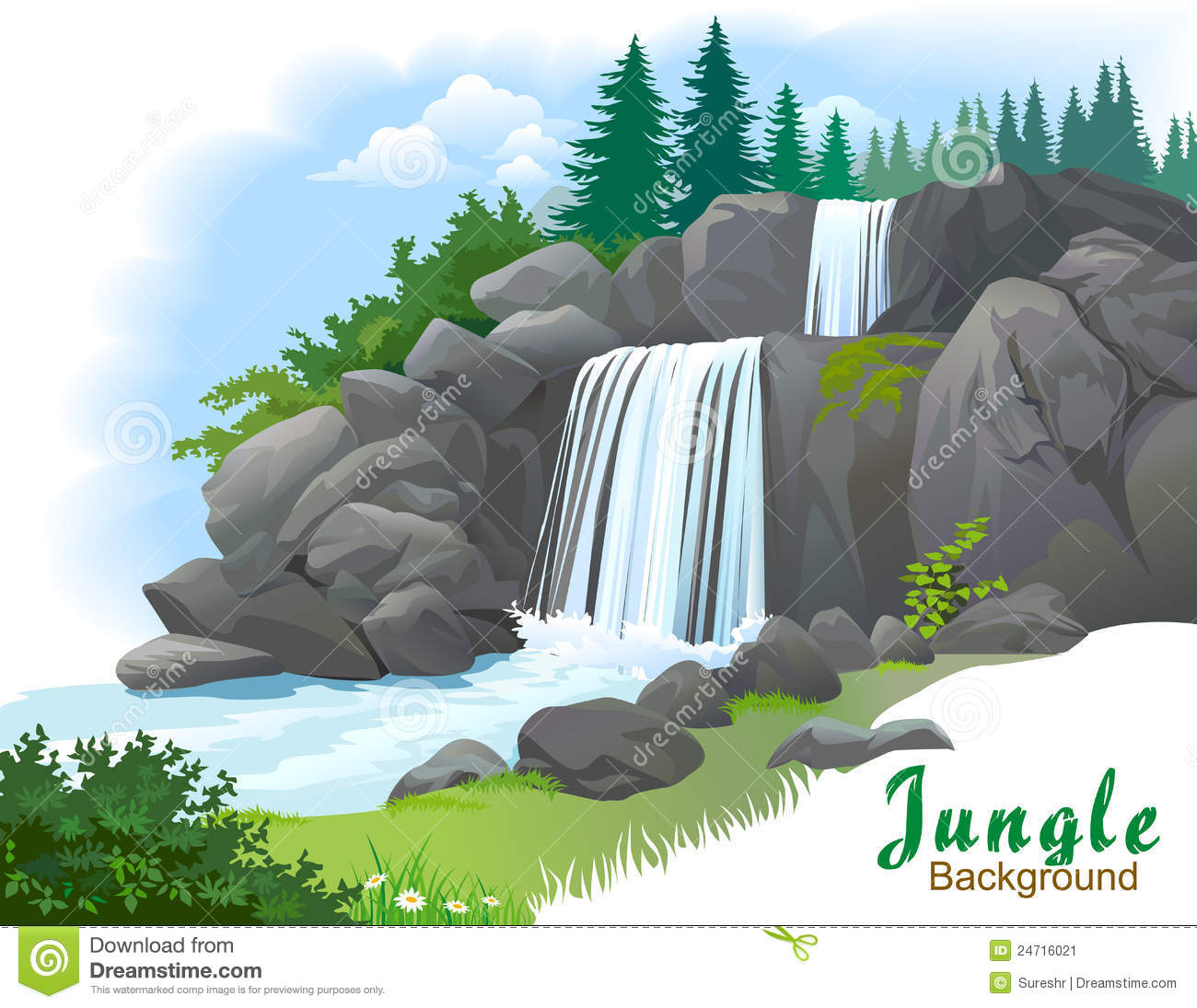 Water falls live clipart.