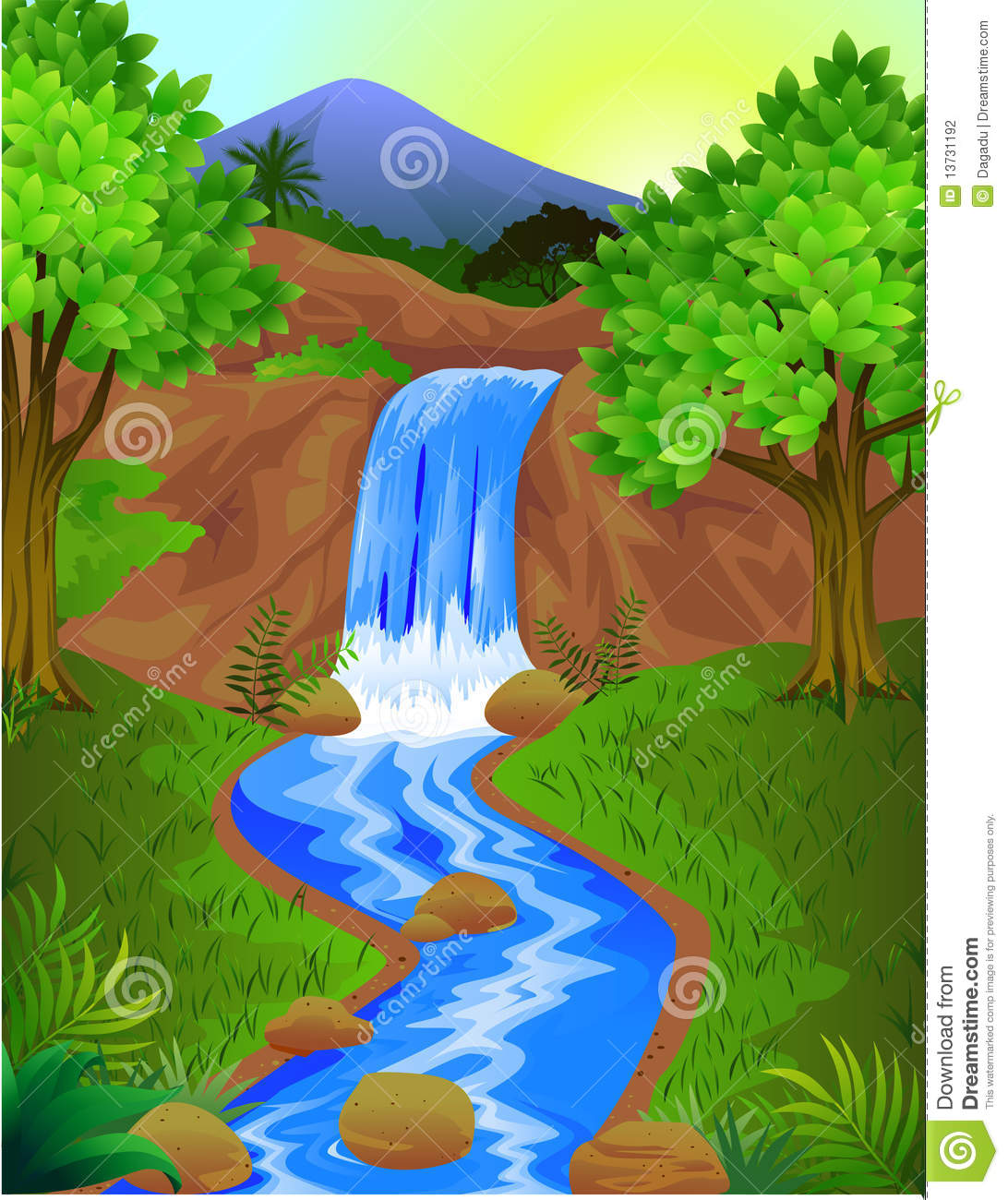 Beautiful clipart of waterfalls.