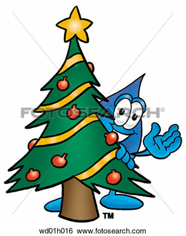 Clip Art of Water drop with christmas tree wd01h016.
