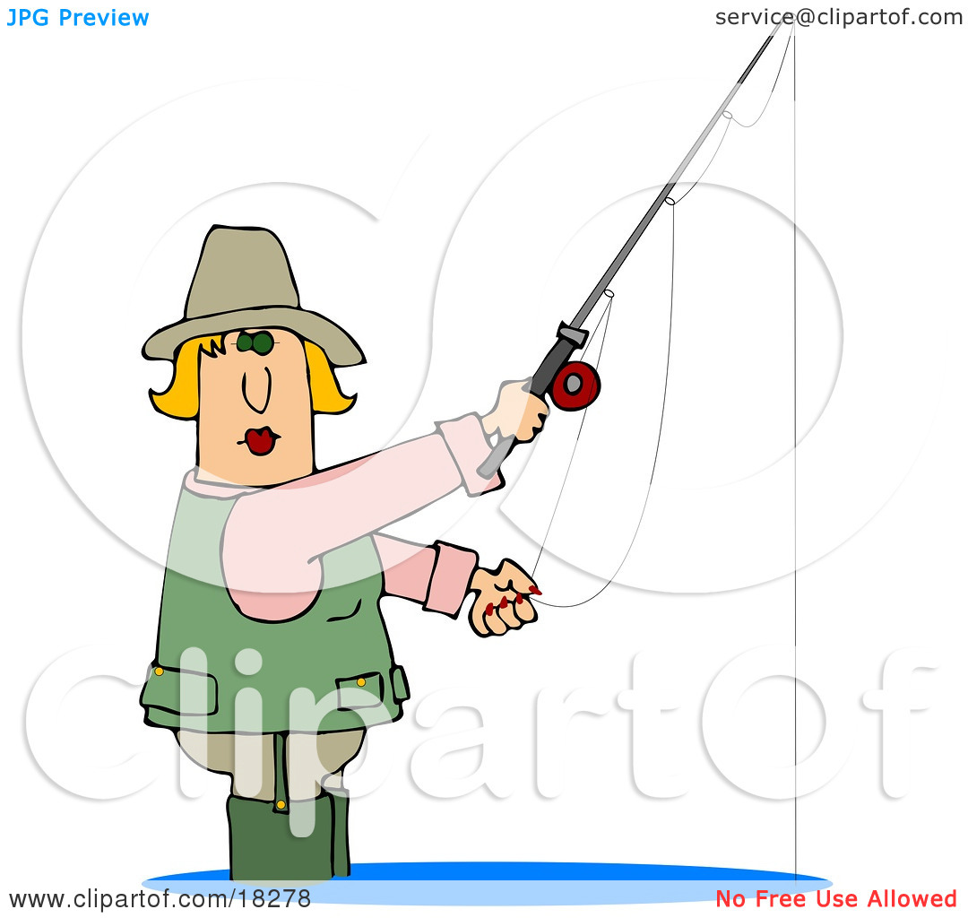 Clipart Illustration of a Blond White Lady Wading in Water and.