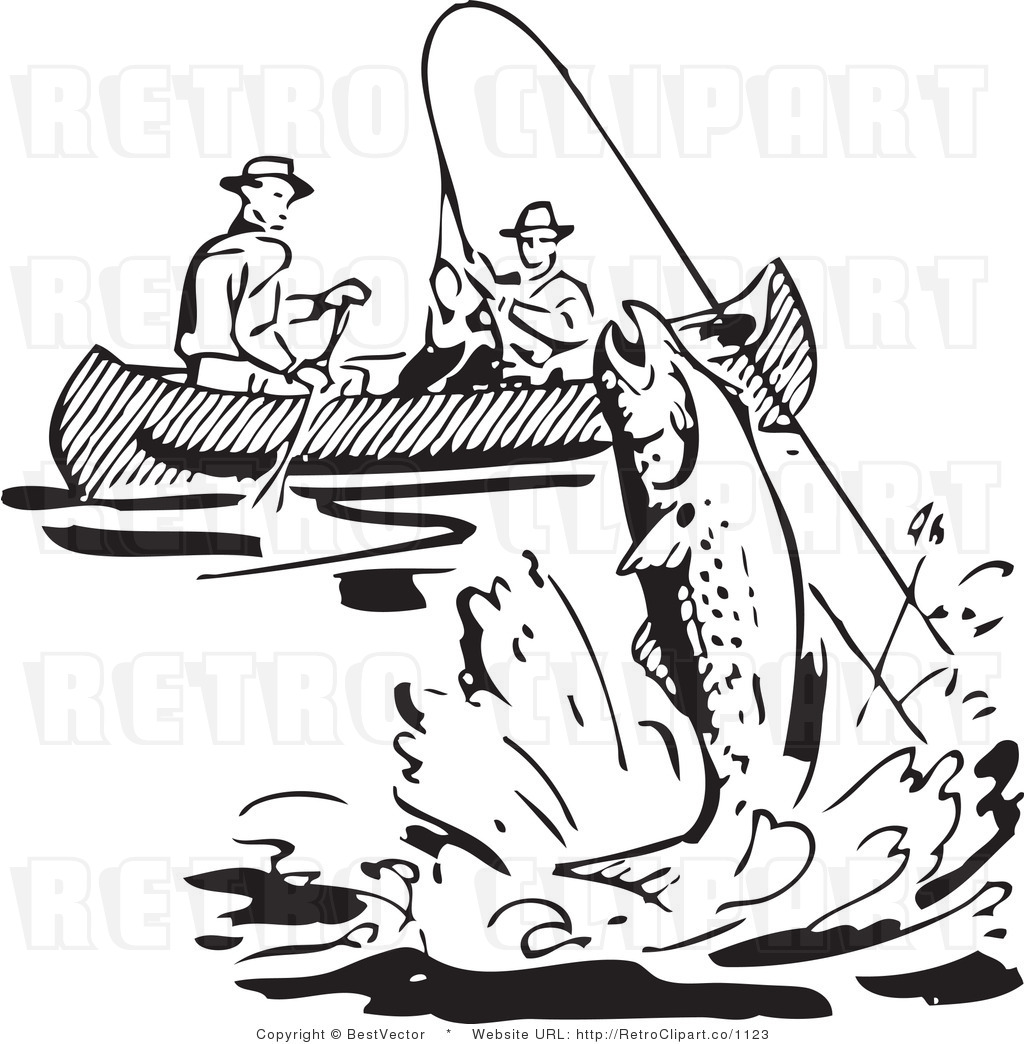 Fisherman Black And White Clipart.