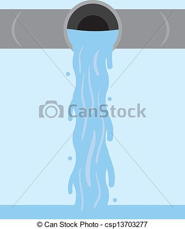 Vectors Illustration of Water Flowing Pipe.