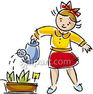 Girl Waters Her Flower Bed Royalty Free Clipart Picture.