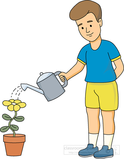 Watering flower with water can » Clipart Station.