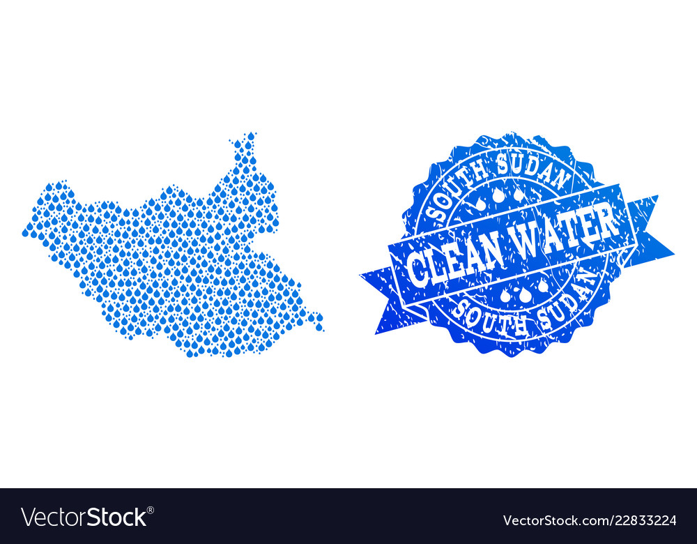 Mosaic map of south sudan with water tears and vector image on VectorStock.