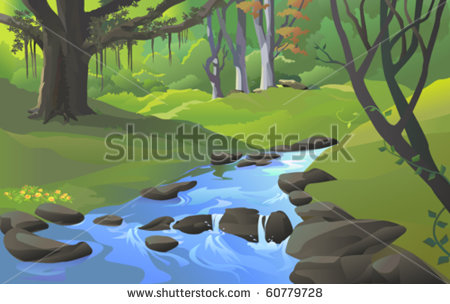 Stream With Rocks Clipart.