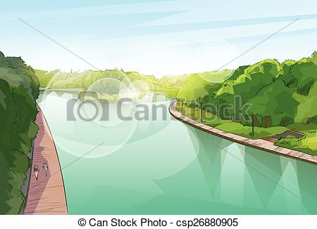 Vector Clipart of Water River Pond Jungle Forest Green Landscape.