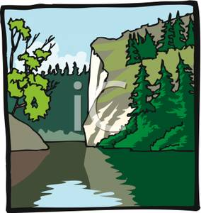 Free Clipart Image: Still Water In a Forest.