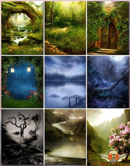 fantasy forest and black water raster backgrounds clip art.