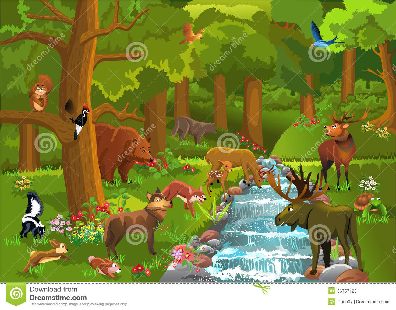Jungle animals and water clipart.