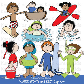 Clip Art WATER SPORTS and KIDS (Karen\'s Kids Clip Art).