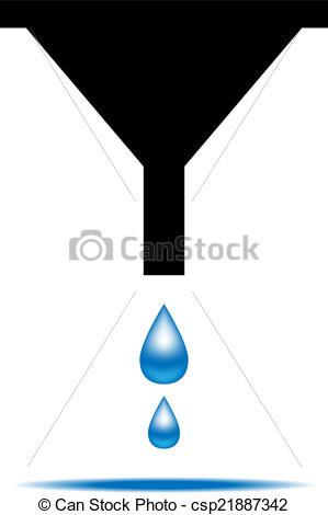 EPS Vector of Funnel icon with drops of water. Vector illustration.