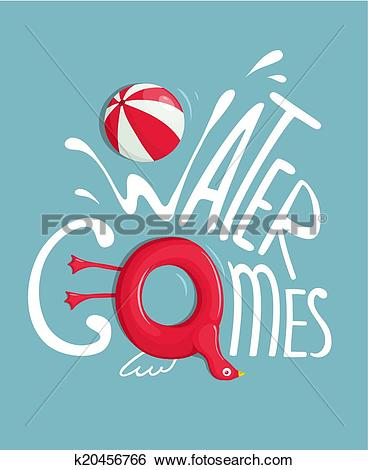 Clip Art of Water Games with Inflatables Lettering Poster.