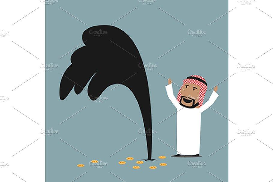 Arab businessman standing near oil.