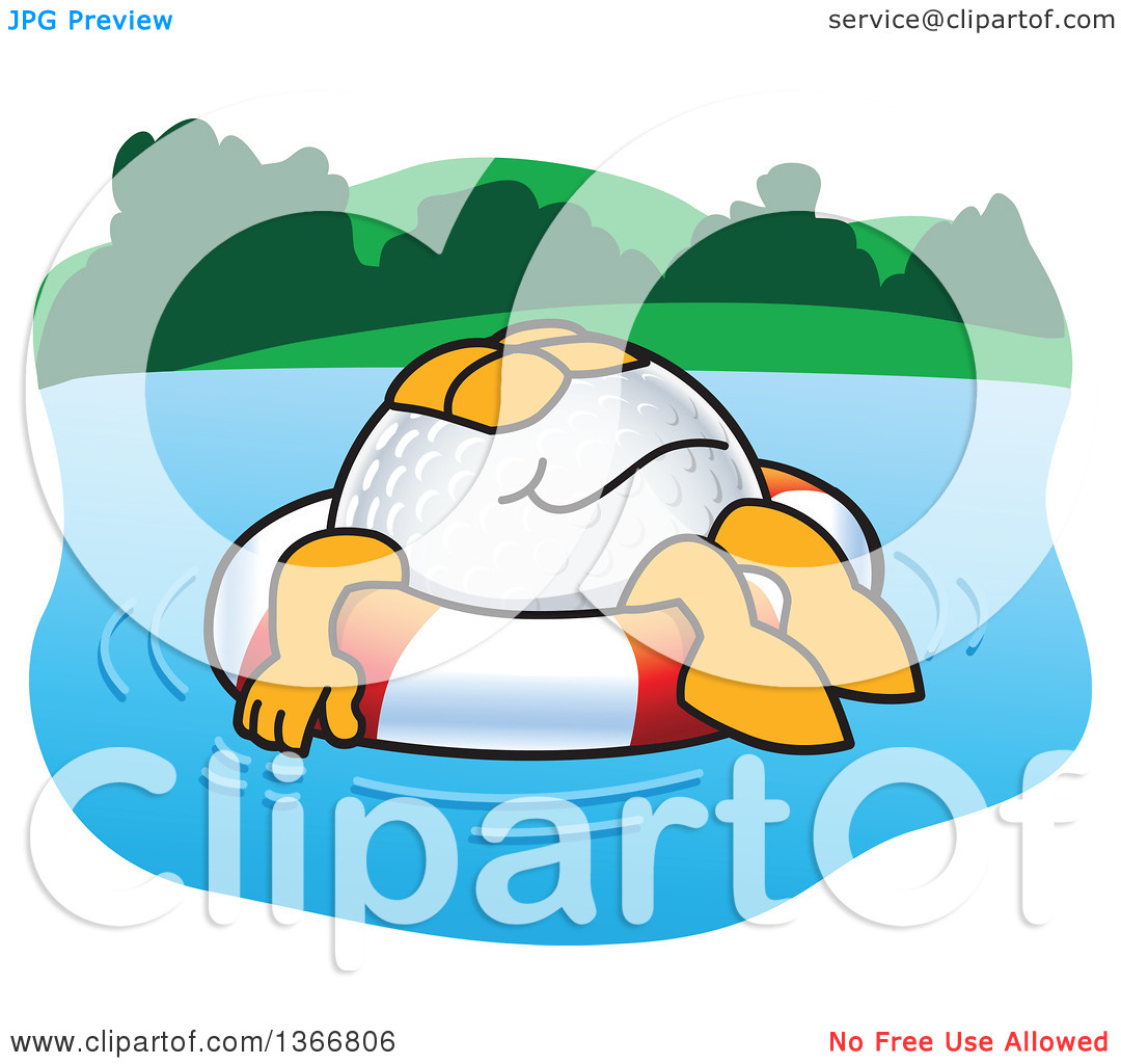 Clipart of a Golf Ball Sports Mascot Character Floating on a Life.