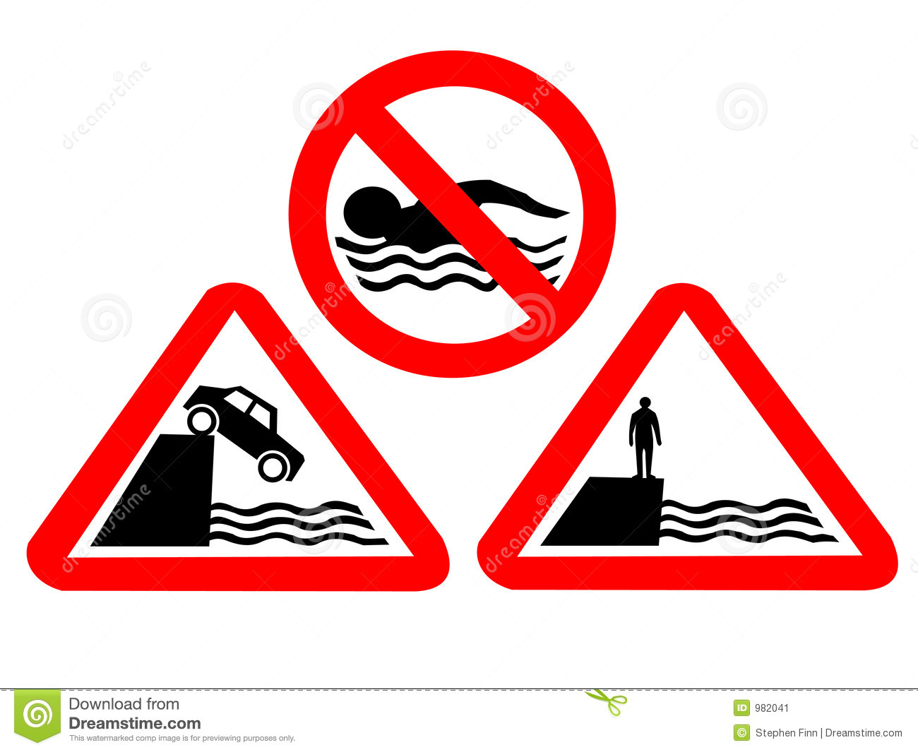Water Hazard Signs Royalty Free Stock Photos.