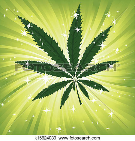 Clip Art of Green hemp floral inspiration backg k15624039.