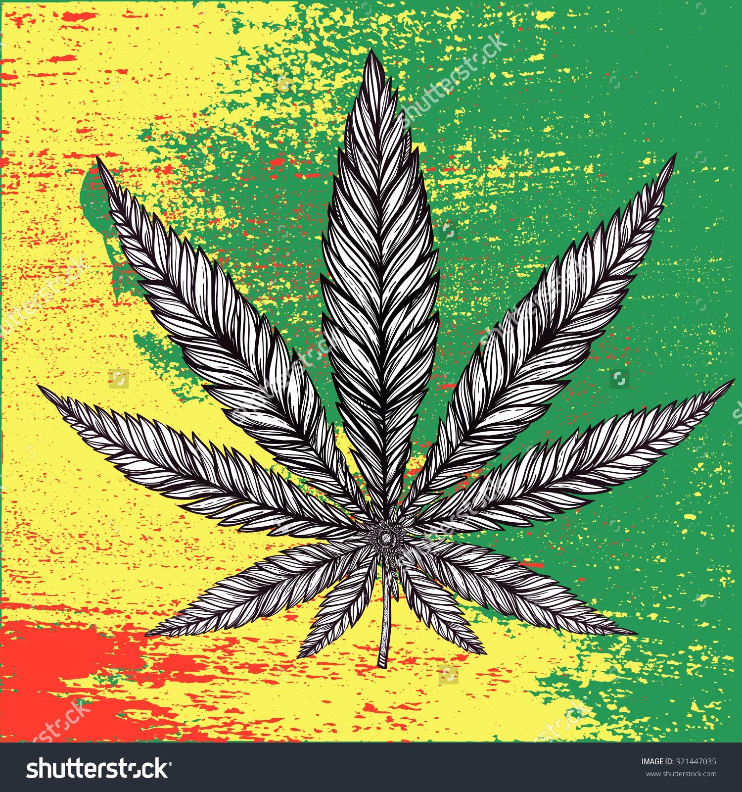 Hemp Cannabis Leaf Vintage Linear Style Stock Vector 321447035.