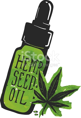 Hemp Seed Oil Label And Bottle With Marijuana Leaf stock vector.