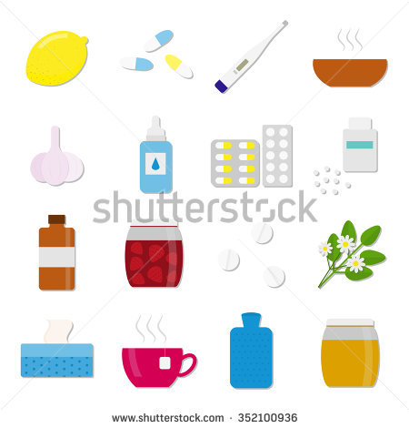 Set Of Colorful Flat Icons For Flu And Cold Treatment. Lemon.