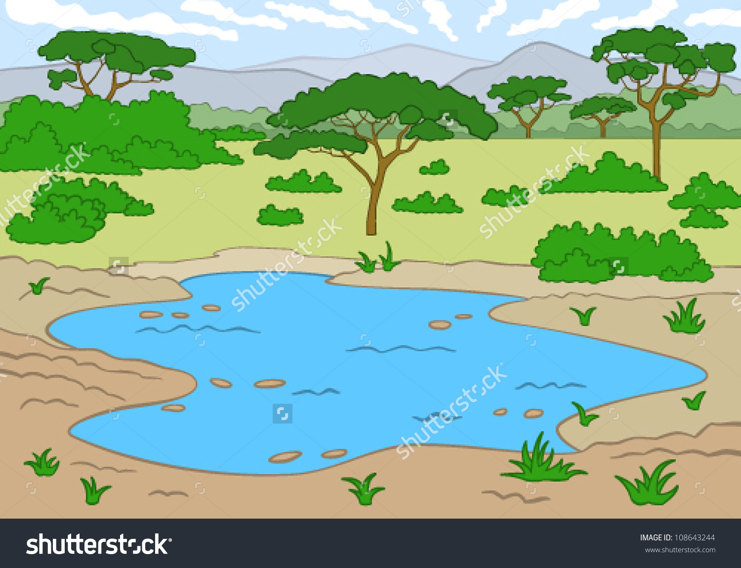Watering hole clipart.