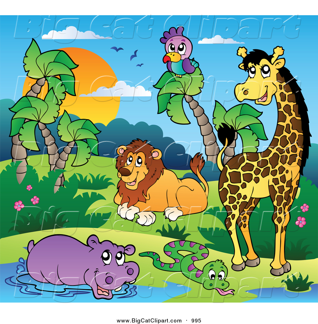 Big Cat Cartoon Vector Clipart of African Animals by a Water Hole.