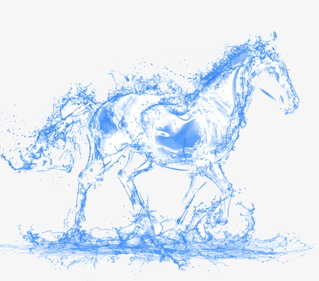 Water horse PNG clipart.