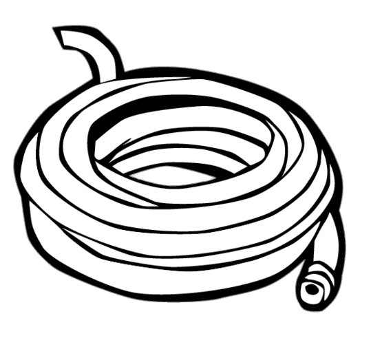 Garden Hose Black and White Clipart transparent PNG.