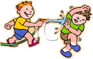 Two Boys Having a Water Fight with a Garden Hose.