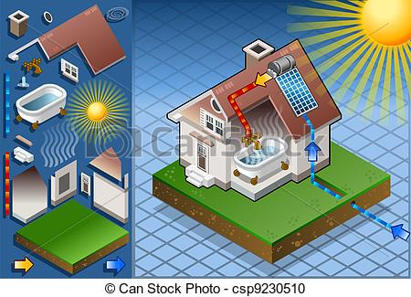 EPS Vectors of Isometric houses with solar panels in production of.