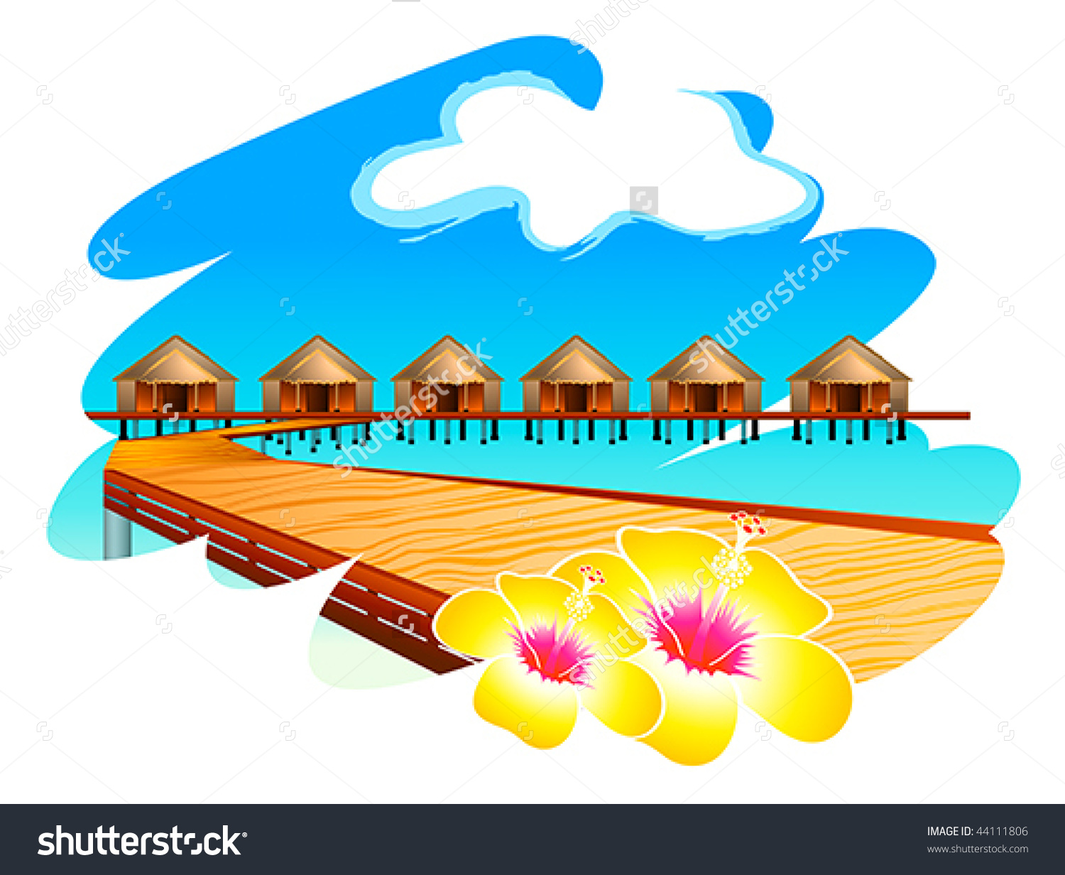 Wooden Footbridge Maldives Water Houses Hibiscus Stock Vector.