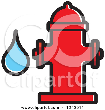 Clipart of a Black and White Fire Hydrant and Water Drop.