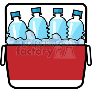 cooler full of ice cold water icon clipart. Royalty.
