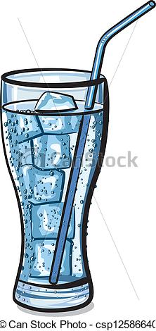 EPS Vector of glass of fresh cool carbonated water with ice.