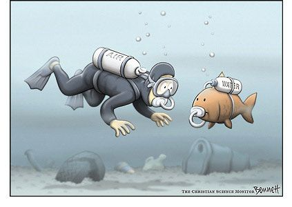 Bennett Cartoon Archive: Water Pollution~~ Help save this planet.