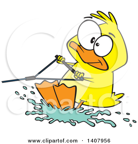 Clipart of a Cartoon Black and White Funny Duck Telling Jokes.