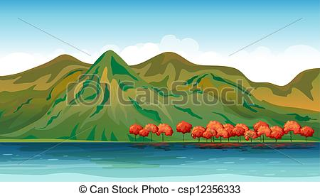 Clipart Vector of Land and water resources.