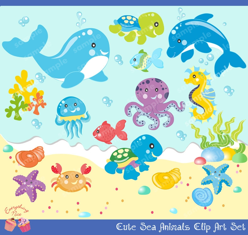 Water and water creatures clipart.