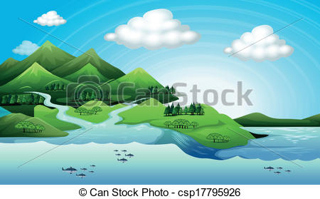 Vector Illustration of Land and water resources.