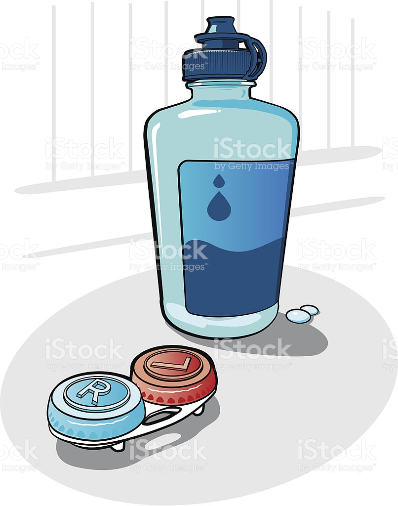 Contact Lenses And Saline Solution stock vector art 165809886.