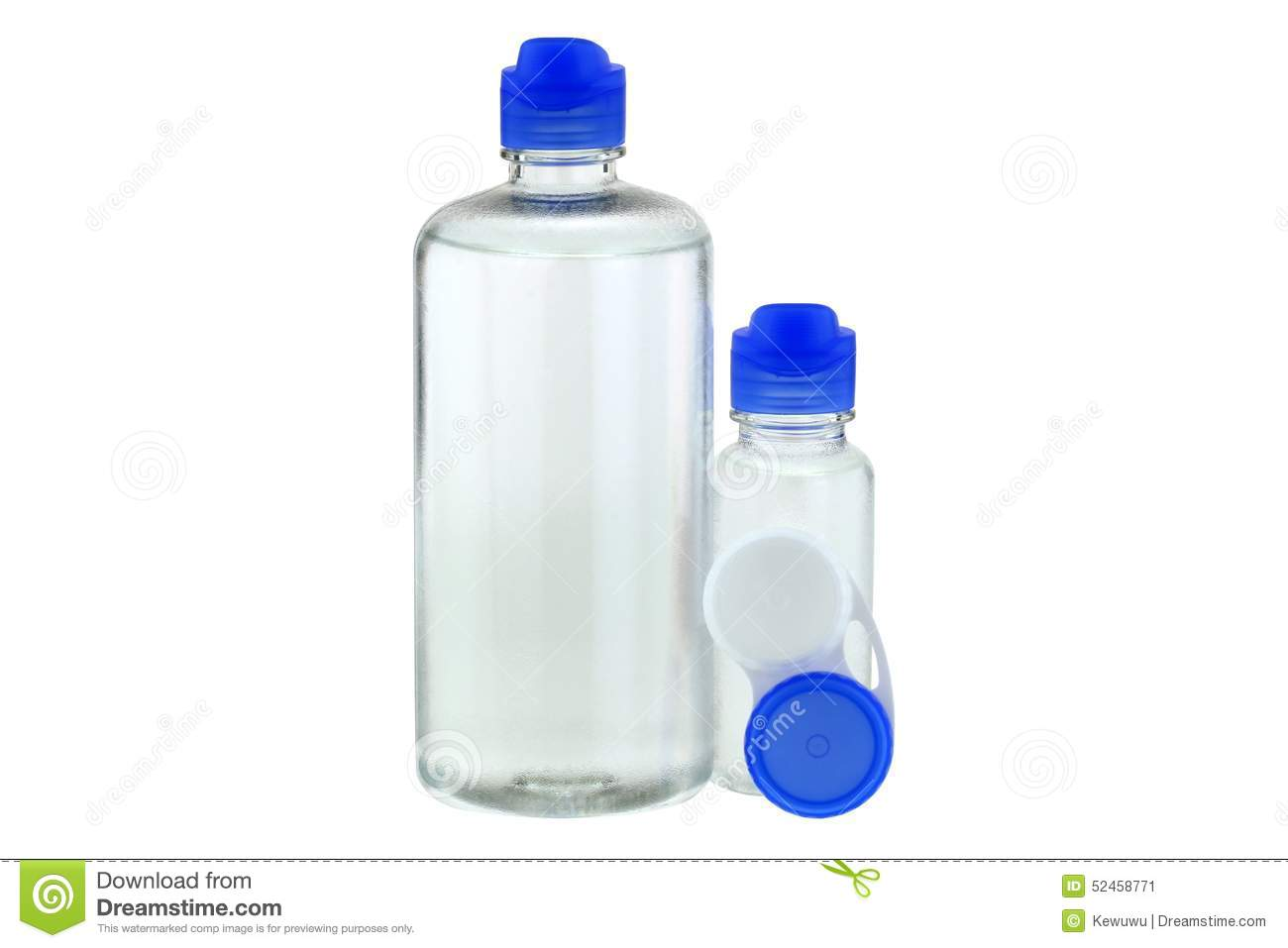 Contact Lens Solution And A Lens Case Stock Photo.