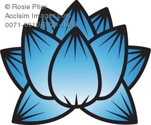 Clip Art Illustration Of A Lotus Flower Bloom.
