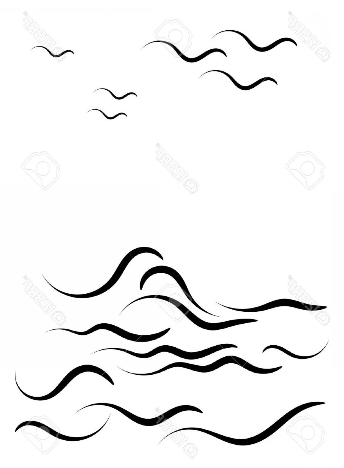 Ocean Water Clipart Black And White.