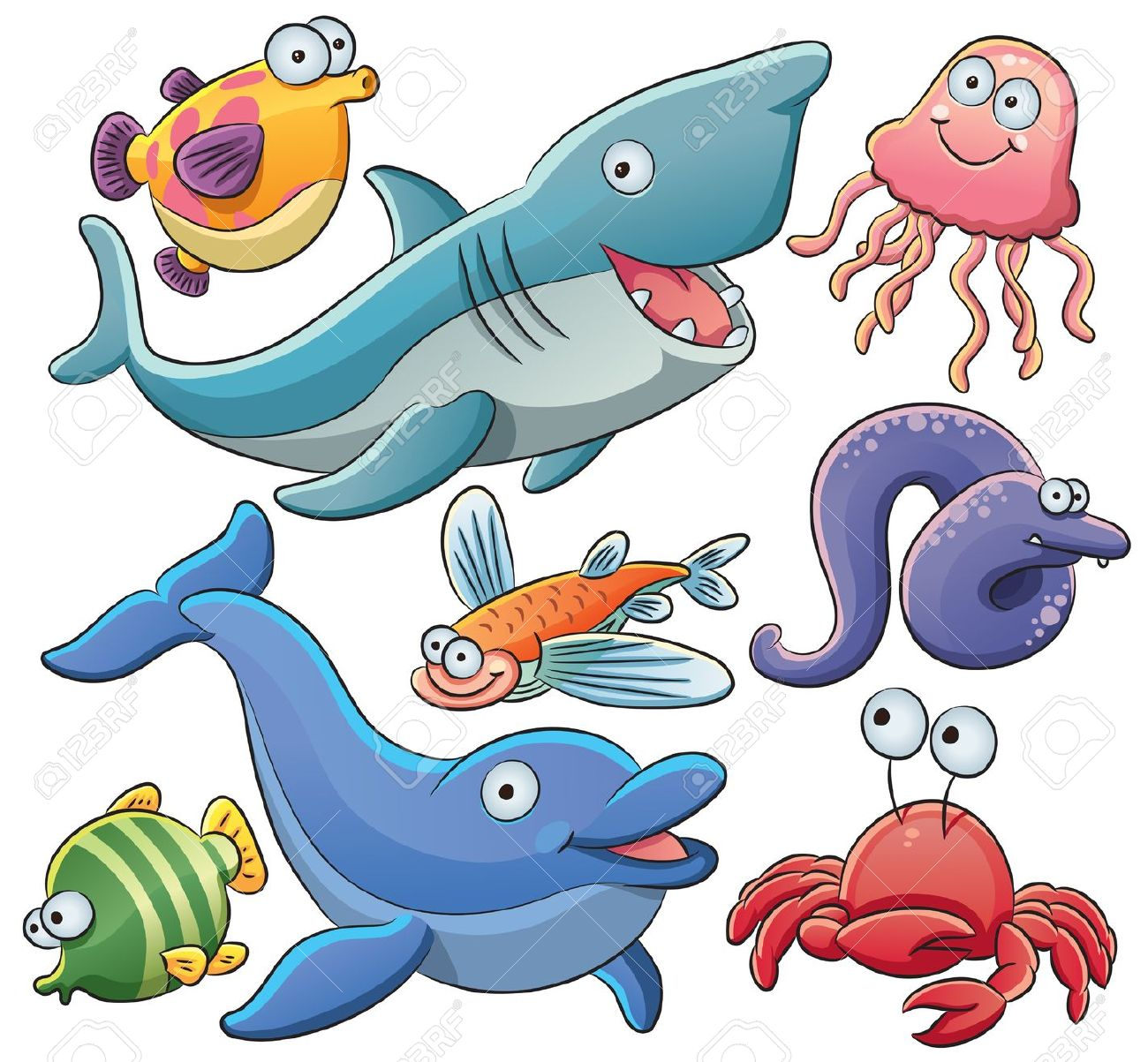 Sea Animals Collection Royalty Free Cliparts, Vectors, And Stock.