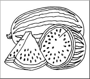 Clip Art: Fruit: Realistic Watermelon 2 B&W.