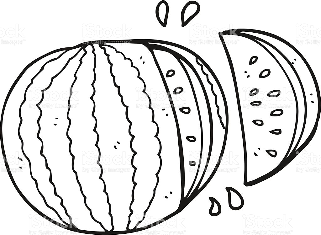 Black And White Cartoon Watermelon stock vector art 519154280.