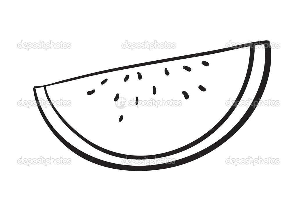 Watermelon Slice Clipart Black And White.