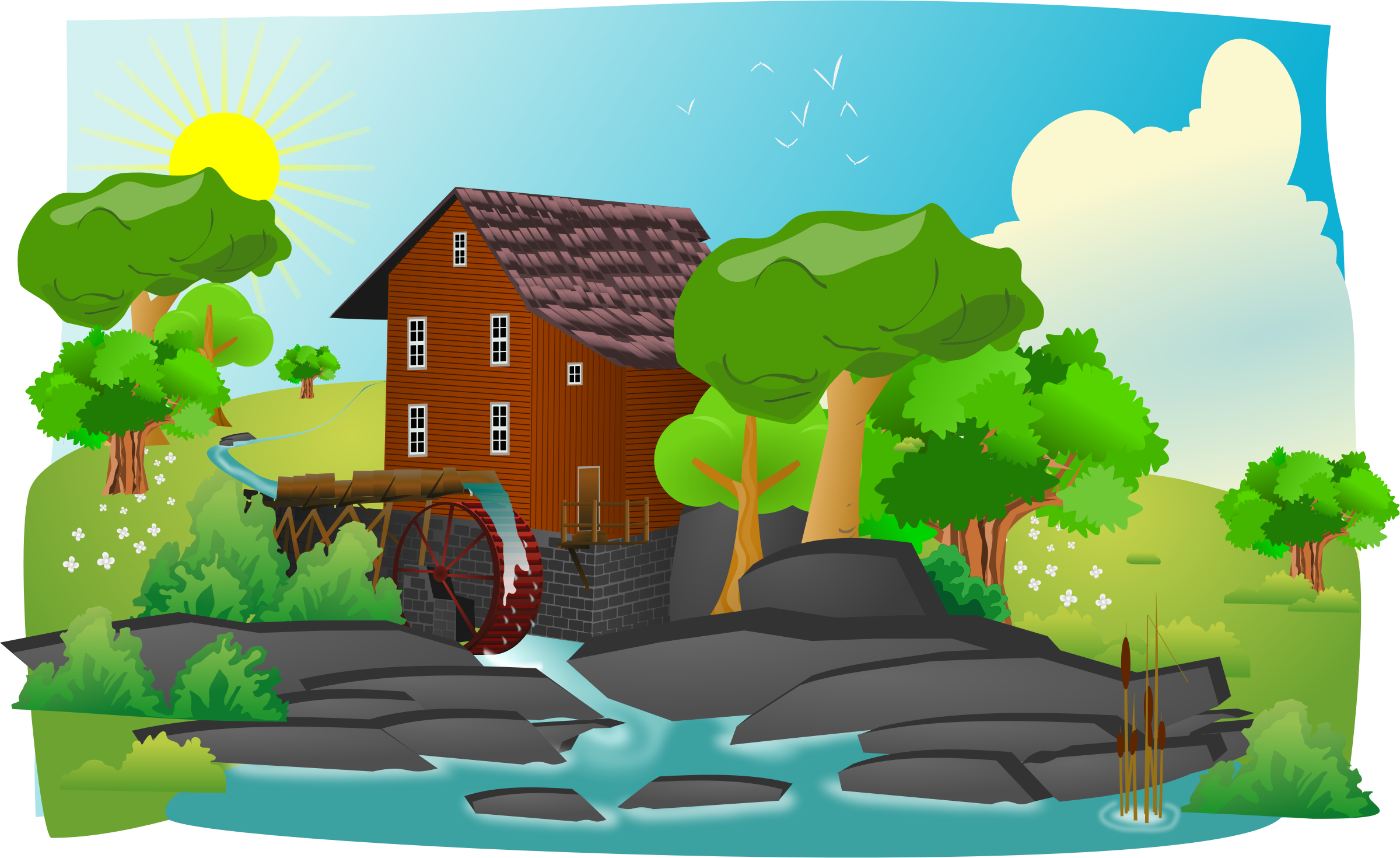 clipart watermill place mill water places landscape cliparts clip quality lanscape domain clipartlord publicdomainfiles country library clipground tree simple cyberscooty