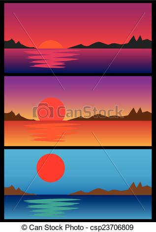 Vector Clipart of Sunrise and Sunset over water Vector.