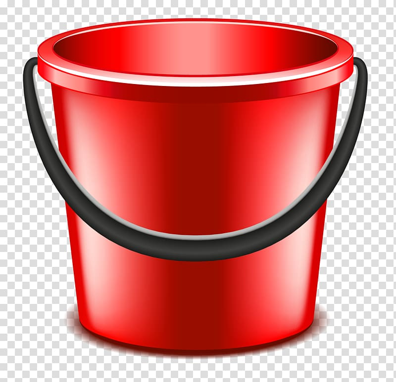 Red and black pail illustration, Bucket Red Euclidean.